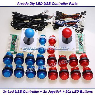 Arcade USB Control Panel DIY Bundle Kit 2 joystick + 20 LED Illuminated Buttons