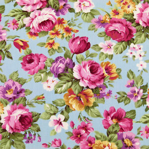 FQ PINK ROSE FLOWER BOUQUET VINTAGE RETRO 100% COTTON FABRIC TIME DRESS VK9 Blue