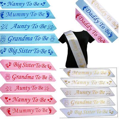 BABY SHOWER SASHES Mummy To Be Daddy Nanny Aunty Big Sister & Grandma to be Sash ()