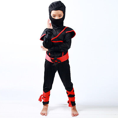 Samurai Costume Kids (Boys/Kids Childs Ninja Assassin Japanese Samurai Warrior Fancy Dress Costume)