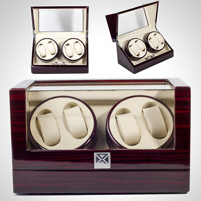 New 4+2 Automatic Rotation Wood Watch Winder Storage Display Case Watch Box US