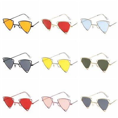 Damen Dreieck Stilvoll Sonnenbrille Dekoration Schatten Metall Brille UV AFA660