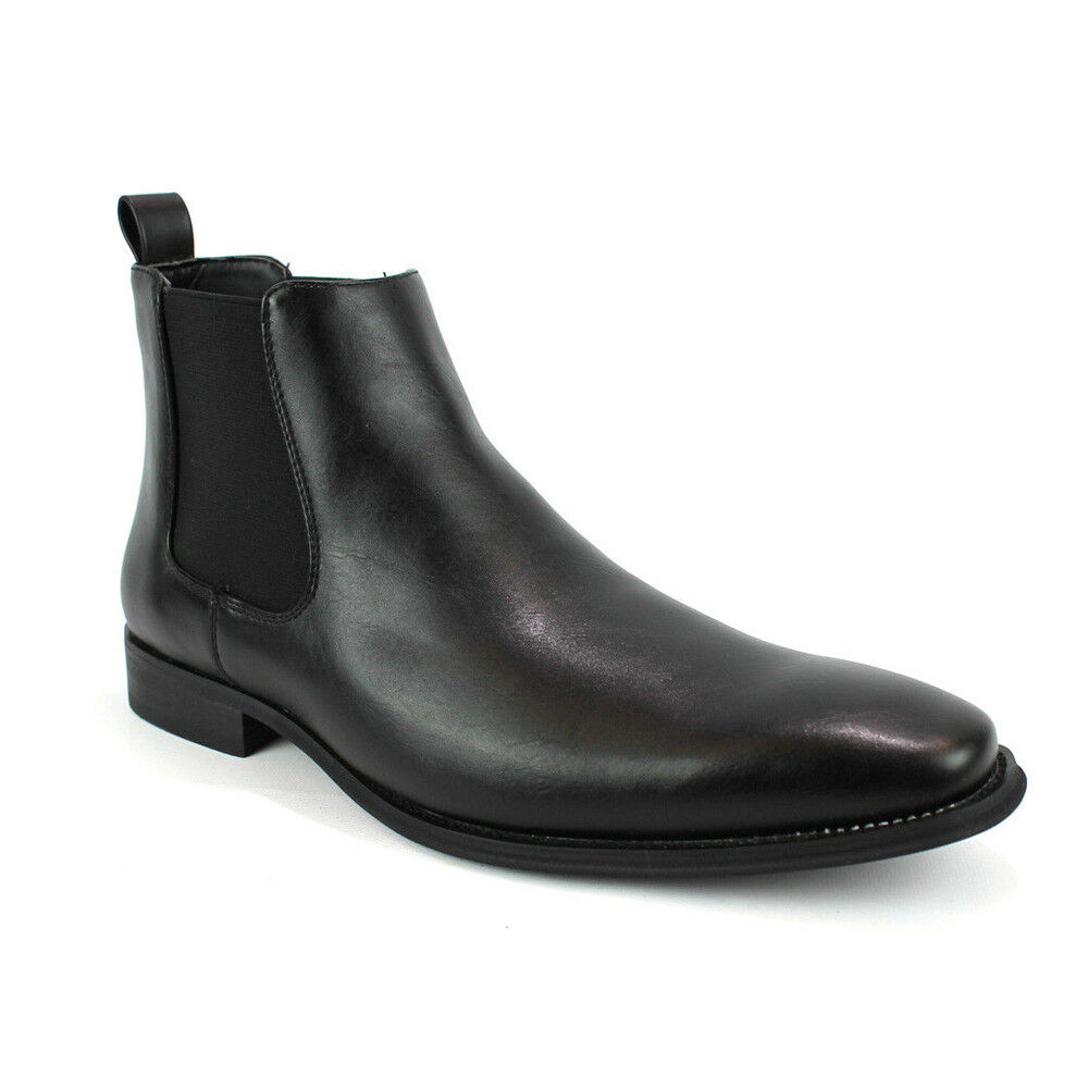 Men's Ankle Dress Boots Slip On Almond Round Toe Leather Chelsea Luciano D-510
