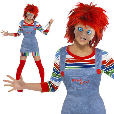 Female Chucky Halloween Costume (Adult Female Chucky Fancy Dress Halloween Childs Play Ladies Costume +)