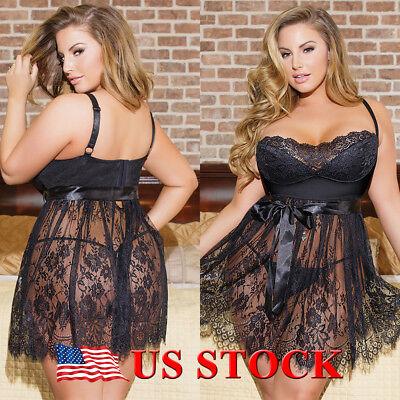 Womens Dressing - US Womens Sexy Sissy Nighwear Underwear Ladies Babydoll Dress Lingerie Plus Size