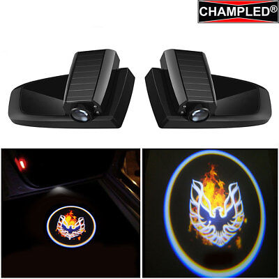 Champled For Fire Bird Car Led Door Projector Logo Shadow Lights Emblem Wireless