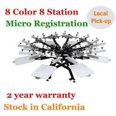 Micro Registration 8 Color 8 Station Silkscreen Printing Machine T-shirt Printer