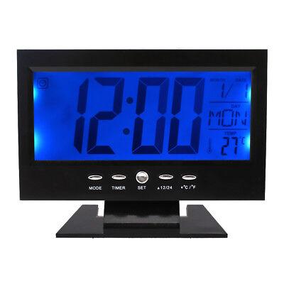 Black LCD Digital Table Desktop Clock Calendar Temperature Alarm Snooze Timer  (Clock Desktop)