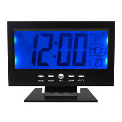 Black LCD Digital Table Desktop Clock Calendar Temperature Alarm Snooze Timer