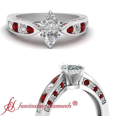 1.50 Carat Marquise Cut Tapered Diamond Ring For Women Engagement With Ruby GIA
