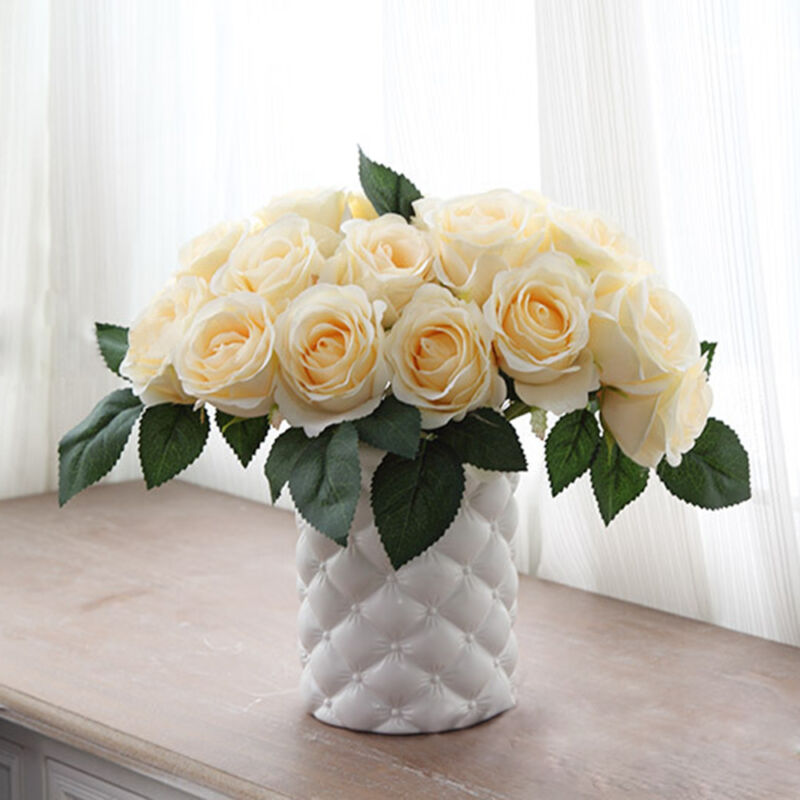 10 Head Artificial Fake Silk Rose Flower Wedding Party Bouquet Home Decoration
