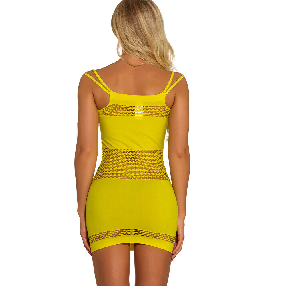 Women Sexy Bodycon Evening Party Cocktail Club Short Mini Fishnet Mini Dress US Clothing, Shoes & Accessories