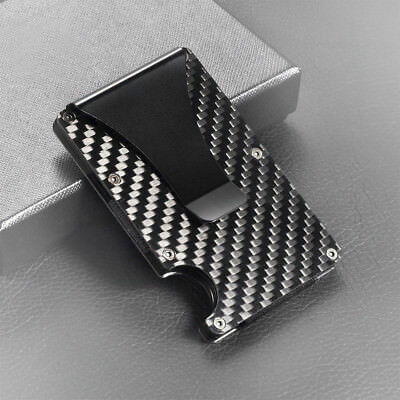 - Black Carbon Fiber Metal Credit Card Holder RFID Blocking Wallet Money Clip