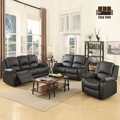 3 Set Sofa Loveseat Chaise Divan Recliner Leather Living Room Furniture in Black