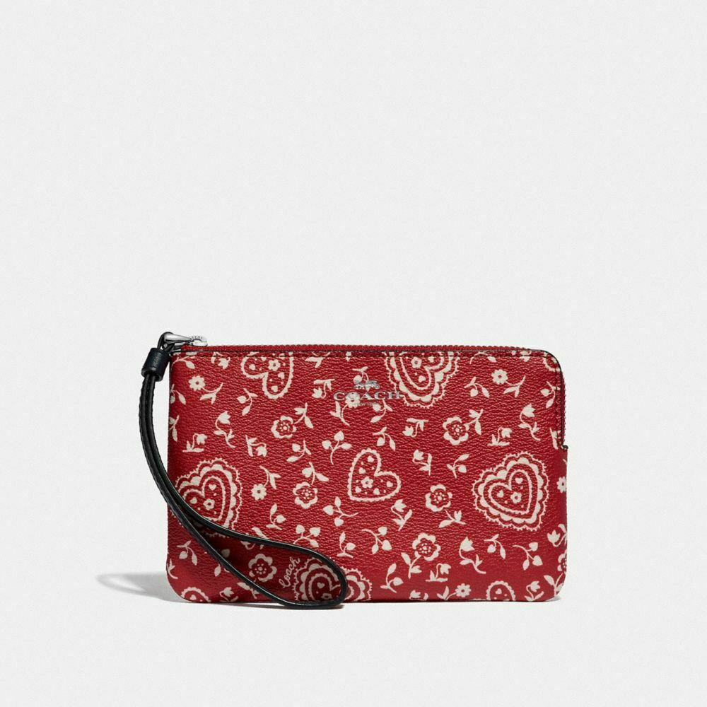 New Coach F58032 F58035 Corner Zip Wristlet With Gift Box New With Tags Red Heart Print
