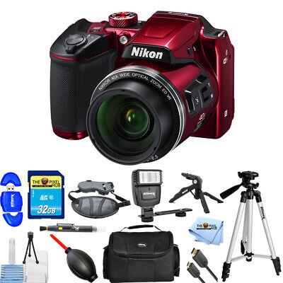 Nikon COOLPIX B500 Digital Camera (Red) Mega 32GB Flash Tripod Bundle