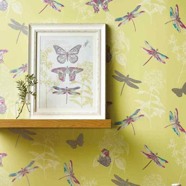 Wings Floral Wallpaper-Dragonfly Imagine Enchanted-Citrus & Lime-Arthouse 664900