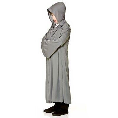 Kinder Grau Robe mit Kapuze Kostüm Mantel Halloween Gandalf Jungen Mädchen