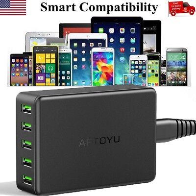 5-Port Multi【Smart Charging】Station USB Wall Charger Des