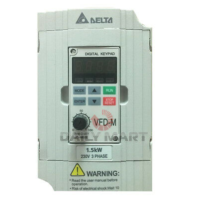 New In Box Delta Vfd015m23a Frequency Inverter Drive 3phase 220v 1.5kw 2hp