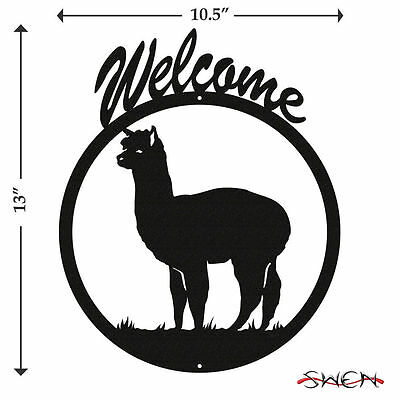 SWEN Products ALPACA Black Metal Welcome Sign