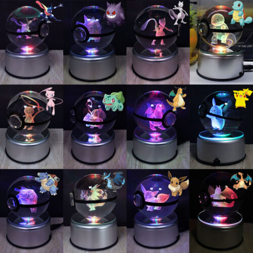 De Détails Le Afficher Pokemon Sur Cristal Nuit Titre Pikachu Xmasgift Dracaufeu Del D'origine Boule Lampe 3d Pokeball Lumière l13TKJFc