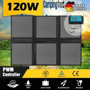 120w Folding Solar Black Panel Kit 12v Mono Caravan Boat $199!