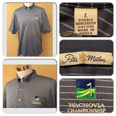 Exc Cond Peter Millar Mens Large Blue Striped S S Wachovia Logo Polo Golf Shirt