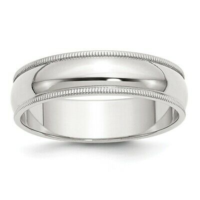 - 6mm Milgrain Sterling Silver Wedding Band Mens Women Ring Size 4 to 13.5