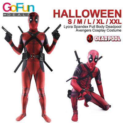 Full Body Deadpool Avengers Cosplay Kostüm Lycra Spandex Halloween