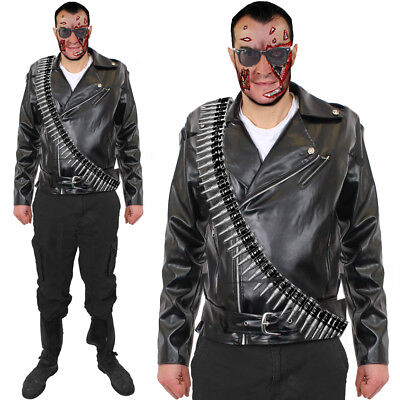 MENS CYBORG ASSASIN COSTUME  ADULT 1980S MOVIE FANCY DRESS HALLOWEEN OUTFIT - 1980's Movies Halloween Costumes