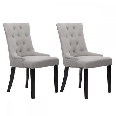 New Set of 2 Grey Elegant Fabric Upholstered Dining Side Chairs w/ Nailhead 36L