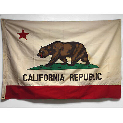 Vintage Style 4x6 Cotton California Republic State Bear Flag Canvas Pennant