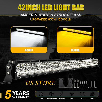 "New 42"" inch 800W LED Work Light Bar Combo Offroad Pickup Wagon UTB Amber White"