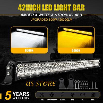 "42"" inch 800W LED Work Light Bar Spot Flood Combo Offroad Pickup Wagon Chevrolet"