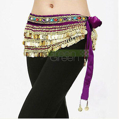 Velutum Belly Dance Hip Scarf Wrap Belt Costume with 248 Gold Coins Purple