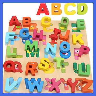 Wooden Alphabet Puzzle Board For 1 2 3 Years Old Girls Boys ABC Chunky Puzzles E