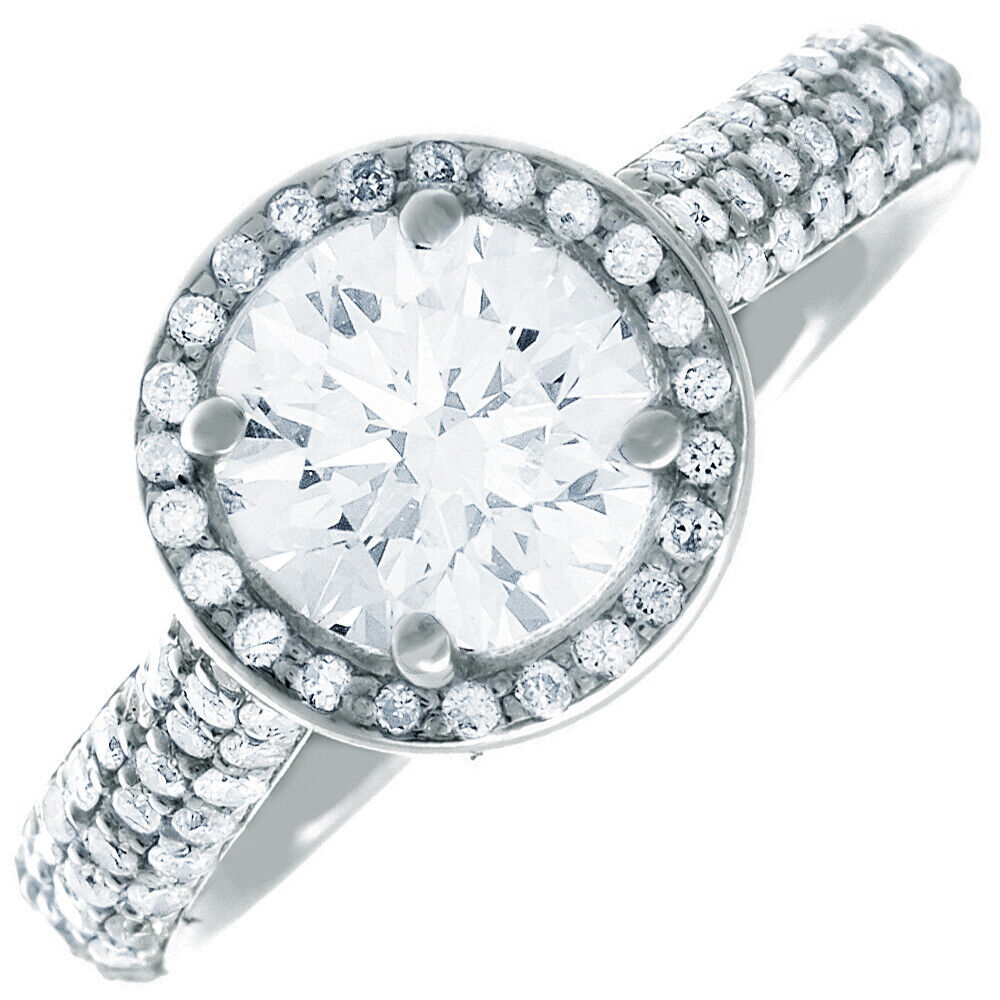 GIA Certified Round Cut Diamond Engagement Ring 18k White Gold 4.76  carat total