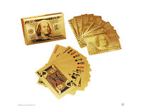 New US Dollar Patten 24K Gold Plated Playing Cards Full Poker Deck Washable Christmas Gift