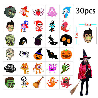 Fake Tattoos For Halloween (30 Sheets Temporary Tattoos Halloween Fake Tattoo Cartoon For Kids Children)