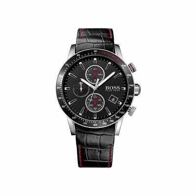 HUGO BOSS® watch Rafale Chronograph Black Leather Strap Mens Watch HB 1513390