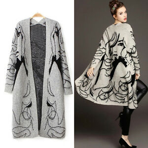 femme pull cardigan chandail tricot manteau veste automne hiver cape poncho mode ebay. Black Bedroom Furniture Sets. Home Design Ideas