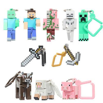 Minecraft Skeleto Cow Zombie Pigman 10 PCS Keyring Keychain Hanger Figure Toy US