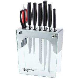 Chefs-Toolbox-8pc-Forged-Knife-Stainless-Steel-Glass-Block-Set
