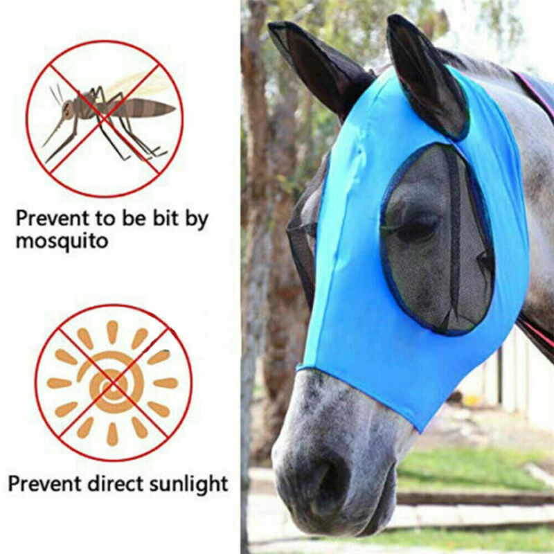 Adult Horse Fly Mask Riding Full Face Ears Nose Mesh Protection Four Color