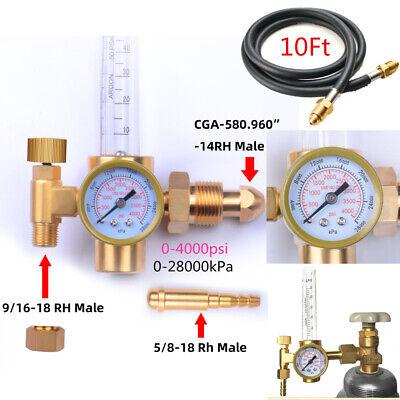 Argon Regulator Tig Welder Mig Welding Co2 Flow Meter Gauge With 10gas Hose Us