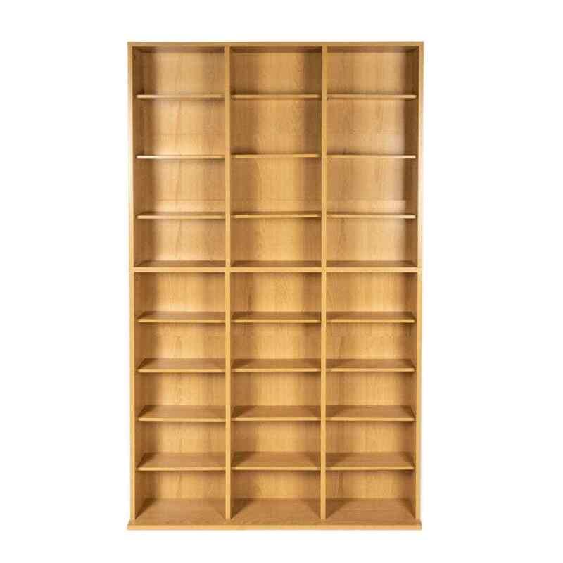Media Storage Maple Finish DVD CD Organizer Cabinet Book Shelves Wood Adjustable