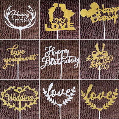 Cake Topper Numbers Wedding Birthday Decoration Gold Silver Glitter Candle Party