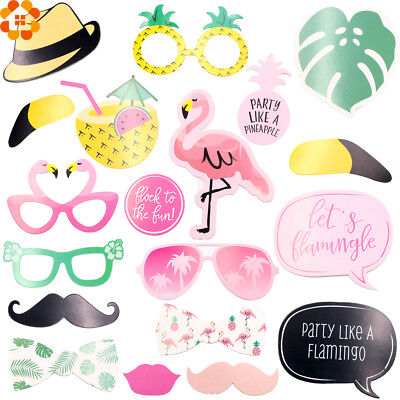 20PCS Flamingo Theme Summer Photo Booth Props Stick Wedding Beach Party Favors