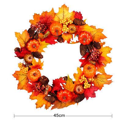 Artificial Fall Maple Leaf Wreath Sunflower Pumpkin Garland Halloween Decoration